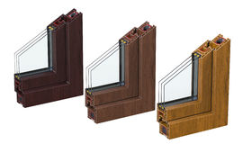 Three сross section through a window PVC profile laminated wood grain. 3D render, isolated on white background. Double glazing cutaway to show the inner Stock Image