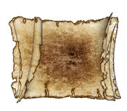 Three  rough antique parchment paper scrolls. Three  grunge vintage textured parchment scrolls, antique background texture of a paper pages, highly detailed Royalty Free Stock Photos