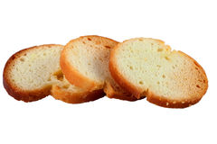 Three round Bruschette rusks isolated on white background Royalty Free Stock Photography