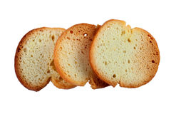 Three round Bruschette rusks isolated on white background Royalty Free Stock Images