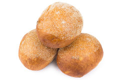 Three round buns Stock Images
