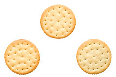 Three round cracker with salt. Arranged in a triangle Stock Photo