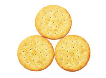 Three Round Crackers Stock Photography