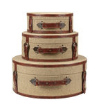 Three Round Deco Burlap Suitcases Royalty Free Stock Photo