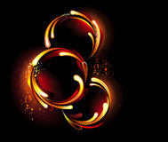 Three round fiery banner Royalty Free Stock Image