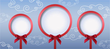 Three round frame with bow. Vector illustration Royalty Free Stock Photography