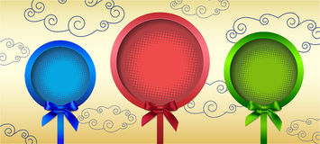 Three round frame with bow. Vector illustration Stock Photos