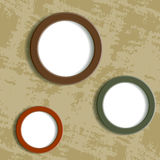 Three round frame on grungy background Royalty Free Stock Photo