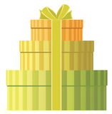 Three round gift boxes Stock Photos