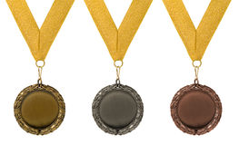 Three round medals royalty free stock photography