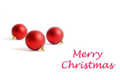 Three Round Red Christmas Ornaments Stock Images