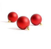 Three Round Red Christmas Ornaments Royalty Free Stock Image