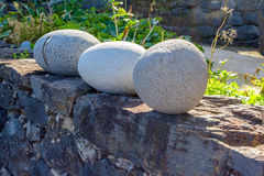 Three round stone in the ruins near Sao Jorge. Madeira Stock Images