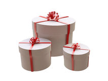 Three Round White Gift Boxes Royalty Free Stock Images