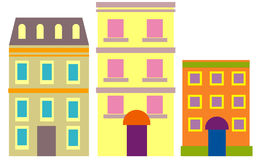 Three in a row. Illustration of three generic apartment buildings stock illustration