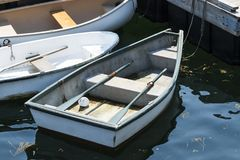 Free Three Row Boats Tied To Dock Royalty Free Stock Photography - 112115527