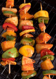 Three is a row on the grill. Veggies ready to be grilled Stock Image