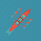 Three rowers in a boat. Three men in a boat. Top view of a canoe on water. Flat style illustration stock illustration
