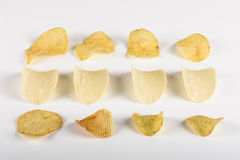 Three rows of potato chips Stock Images