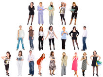 Three rows of separate people Stock Images