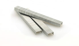 Three rows of staples for stapler Stock Images