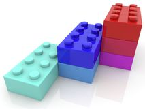 Three rows of toy blocks.3d illustration. Royalty Free Stock Photos