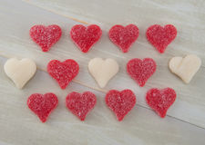 Three Rows of White and Red Gummy Hearts Royalty Free Stock Images