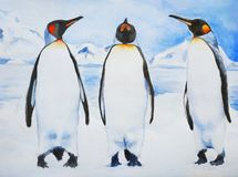 Three Royal penguins stock illustration