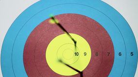 Three rrows hits on target. Ten points. Close up video. Three rrows hits on target. Ten. Close up archery video stock video