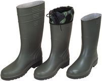 Three rubber boots Stock Photos