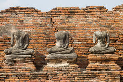 Three ruin Buddha images Royalty Free Stock Photography
