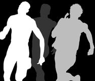Three Runners Shadows. Three Shadows of Runners / Gradient Grey Royalty Free Stock Photo