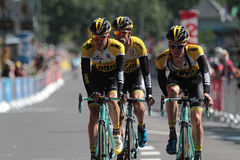 Three runners of Tour de France Stock Photo