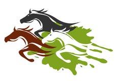 Three Running Horses. Illustration of horses running through the tall grass. Colorful Vector illustration on white background stock illustration