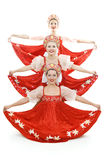 Three russian beauties standing like christmas tre Stock Image