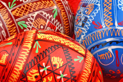 Three Russian Easter Eggs Side By Side Background Stock Images