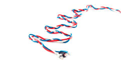 Three russian flag color patchcords over white Royalty Free Stock Photography