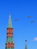 Three Russian long-range strategic bombers Tu-95 `Bear`  in flig. MOSCOW - MAI 4: Three russian strategic bombers fly over Red Square in training for the Victory Stock Image