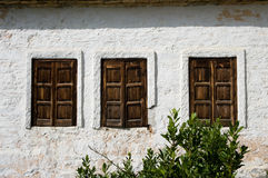 Three rustic Windows wooden Closed Stock Photography