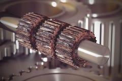 Three rusty cogwheels on metal bar Stock Photo