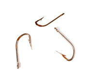 Three rusty old fishhook Stock Images