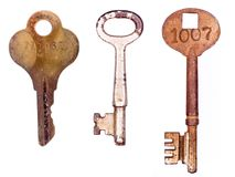 Three rusty old keys Stock Image