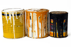 Three rusty paint cans. Picture of a group of metal paint cans stock image