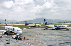 Three Ryanair airplanes in airport Stock Photo