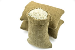Three Sacks Full of Raw Rice Royalty Free Stock Photos