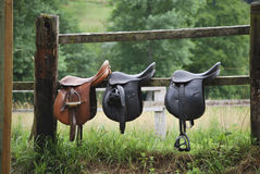 Three saddles Royalty Free Stock Images