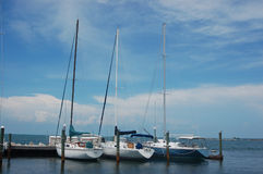 Three sail boats. By the dock, surrounded by the beautiful blue sky and ocean of the Florida Keys stock photo