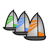 Three sailboats Royalty Free Stock Images