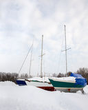 Three Sailboats in Winter Royalty Free Stock Photography