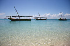 Three Sailing Boat In Blue Water Royalty Free Stock Photography